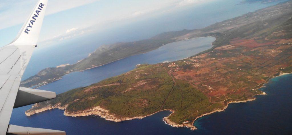 lowcost cestovanie s Ryanair - lacné letenky, Sardínia, letecký pohľad