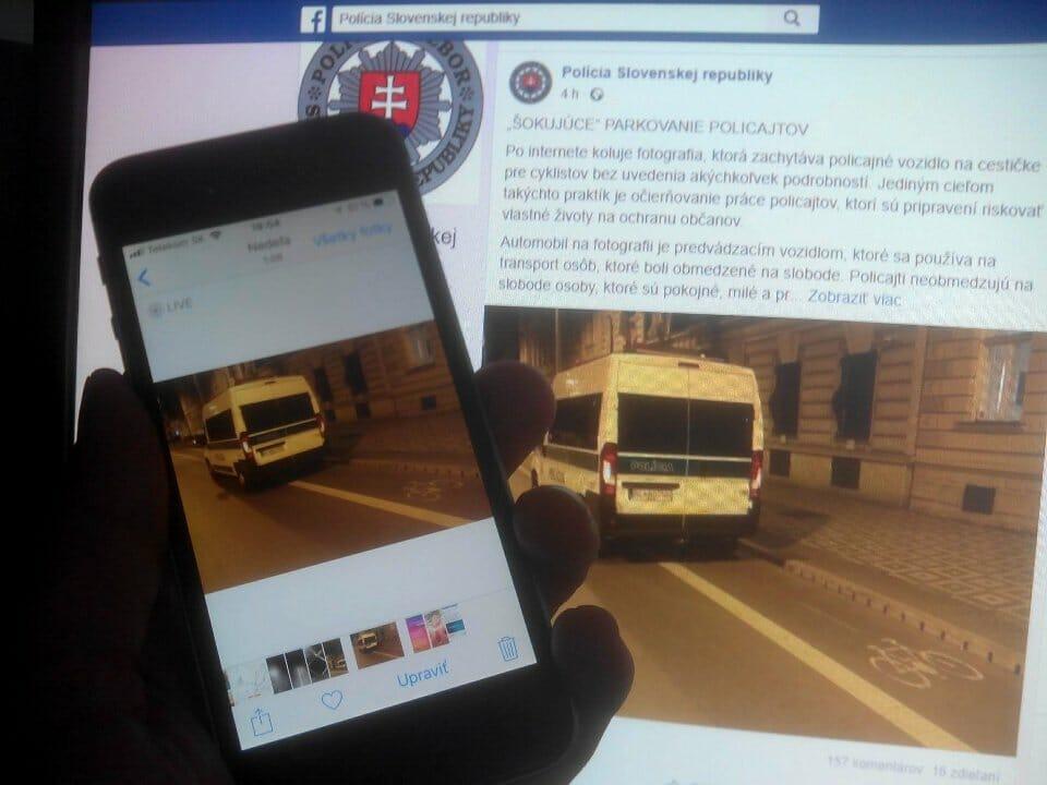 Útrapy bratislavského cyklistu - polícia na cyklopruhu