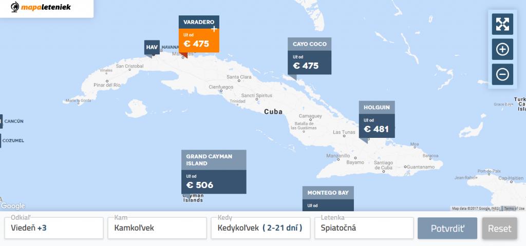 lacné letenky - vyhľadávač MapaLeteniek.sk, Kuba