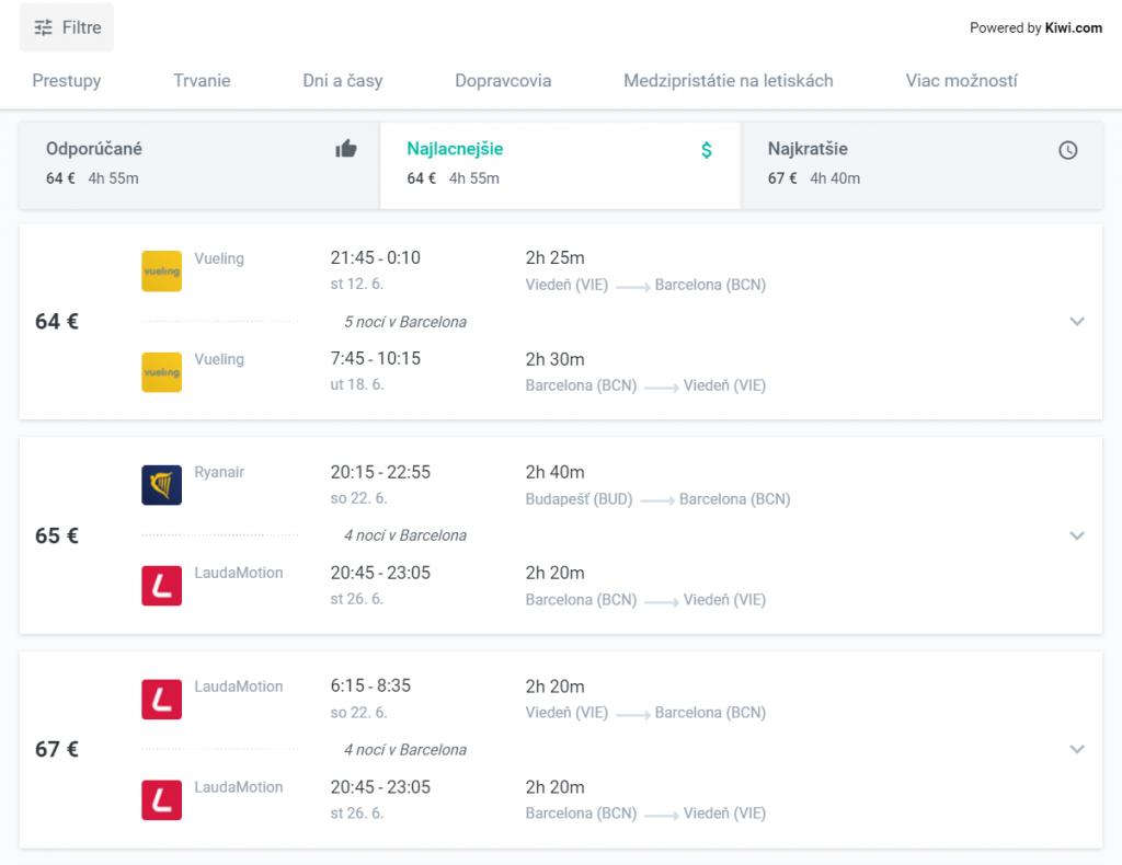 Vyhľadávač lacných leteniek KIWI - lety, Vueling, Ryanair, LaudaMotion