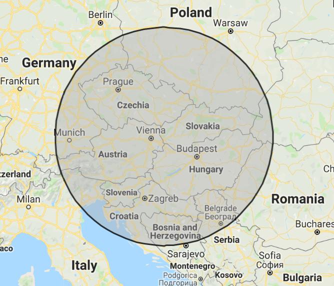 474 kilometrov od Bratislavy - mapa