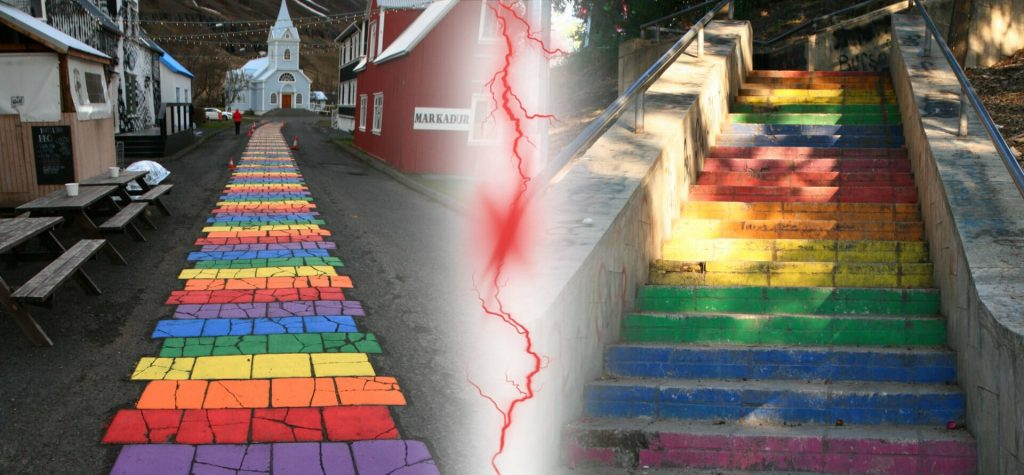Island Seyðisfjörður - kostol s farebným chodníkom vs. Kyrénia, Cyprus, schody