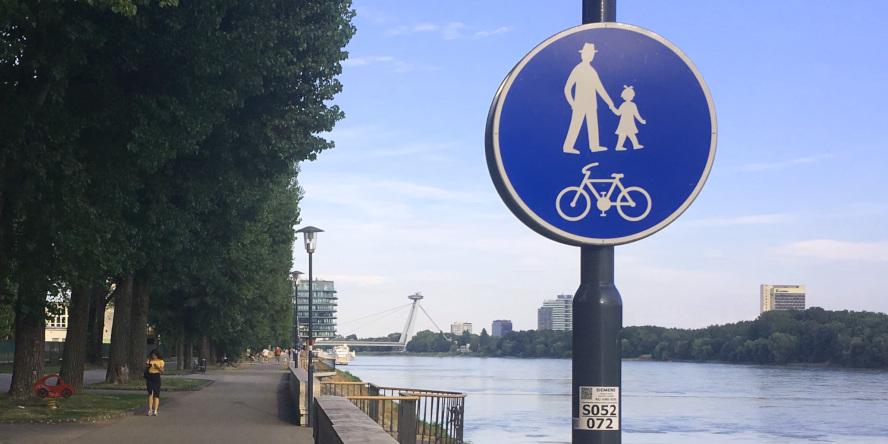 Cyklotrasy v Bratislave: Lafranconi - River Park - Staré Mesto - zmiešaný pohyb