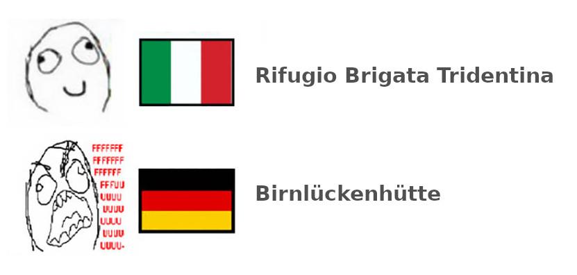 taliančina, nemčina, Rifugio Brigata Tridentina / Birnlückenhütte