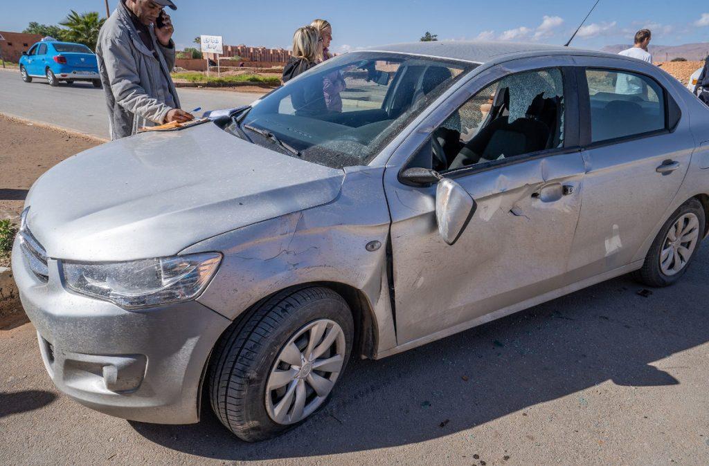 havária v Maroku - auto z požičovne, Citroen C-Elysee car crash