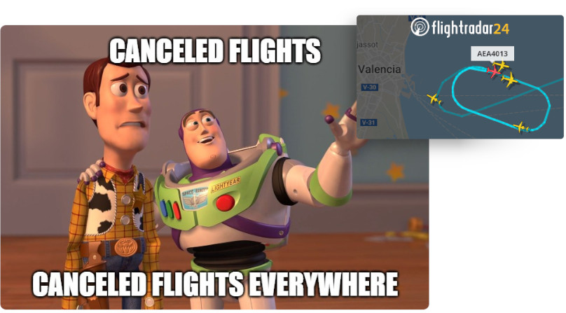 zrušený let, canceled flights, meme, flightradar