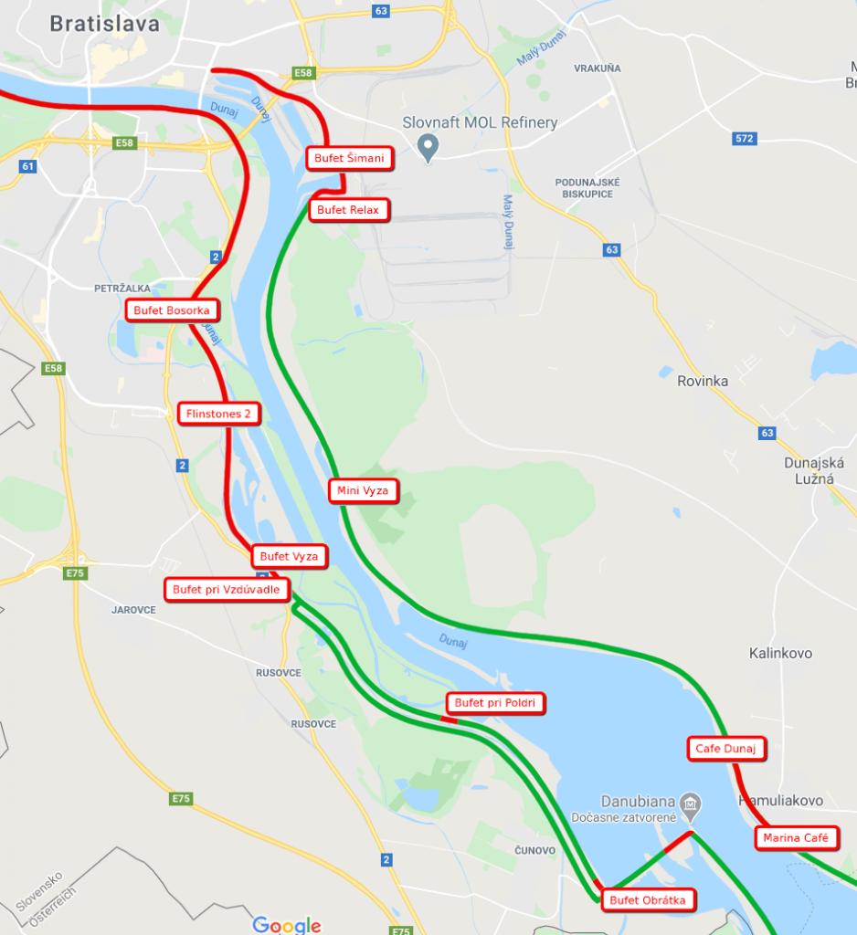 Petržalská hrádza, Dunajská hrádza, bufety, korona športovanie