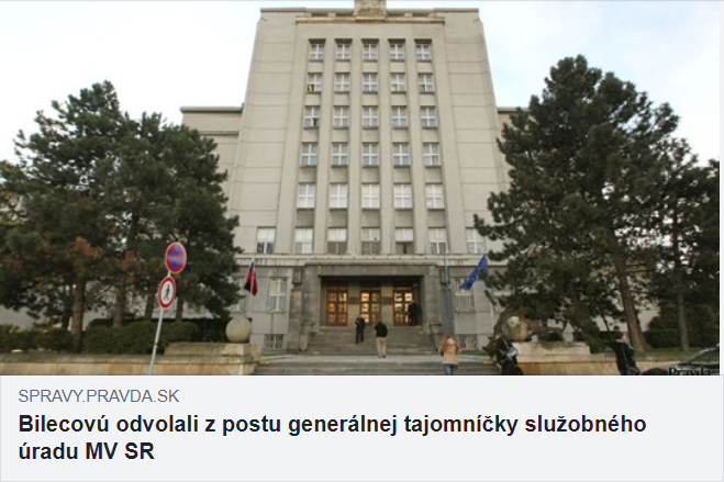Bilecovú odvolali z postu generálnej tajomníčky ministerstva vnútra