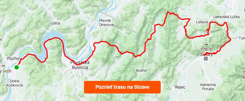 trasa MTB Púchov - Nosická priehrada - Súľov - Lietavský hrad - Rajecké Teplice